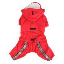 Authentic Puppia Race Track Hooded Jumpsuit, Red, Small