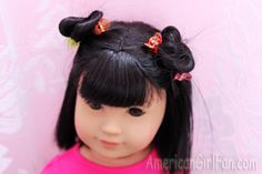 "Lots of adorable American Girl 18"" Doll hairstyles. Some easy hair clip styles for short and long hair."