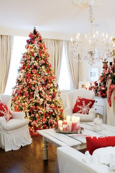 Red & White Christmas Themed tree and room