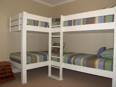 cabin, bunk idea, beach house bunk beds, corner bunkbeds, corner bunk beds