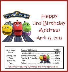 15 Chuggington Birthday Candy Bar Wrappers   eBay