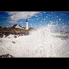 "love this unique shot of the portland head lighthouse in maine. ""Duck and Cover, Hurricane Bill and the PHL"", by moe chen - http://moechenphotography.com/"