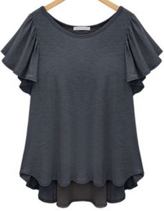 Grey Short Sleeve Ruffle Split Chiffon T-Shirt pictures