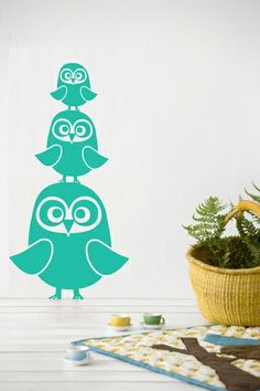 owl wall stickers. love the teal colors!