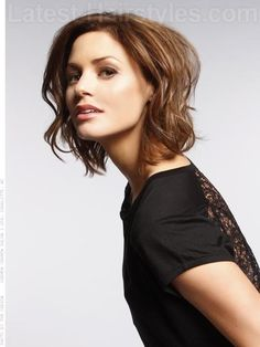 Wavy Brunette Medium length hairstyle. Bed-head bob. A messy, sexy bob exudes instant confidence and charisma. Get ready to steal the show with this bodacious style. Read more at http://www.latest-hairstyles.com/medium/bob.html#VIR8hzmG4qzgCDWm.99