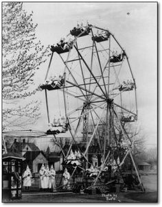 A bunch of KKK members riding a ferris wheel from 1928. WTF.
