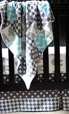 Custom baby bedding  Grey and Aqua Blue by GiggleSixBaby on Etsy, $258.00