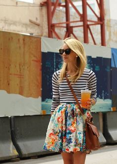 Floral print skirt & navy striped top