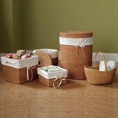 Kids' Storage Baskets: Kids Rattan Storage Basket Collection | The Land of Nod