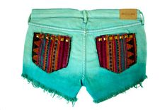 Mint shorts with tribal print pockets-LOVE!
