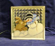 HAND PAINTED Glass Block LightSnowman Rabbit by bestemancreations,
