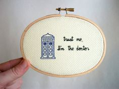 Trust Me I'm the Doctor cross stitch -- Doctor inspired funny, simple cross stitch, minimalist with police box