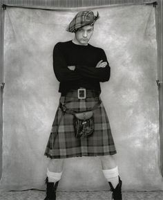 Love this black and white photo of a guy in a kilt! There's something just very right about it!