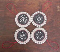Handmade Embroidered Wool Felt Snowflake Ornaments by Scissaroo