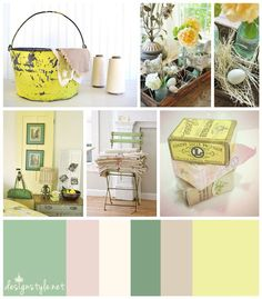 Vintage color palette, Country Cottage with accents of yellow, green, beige and cream