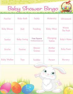 Bunny Theme Baby Shower Bingo for spring, Easter, or bunny theme baby showers