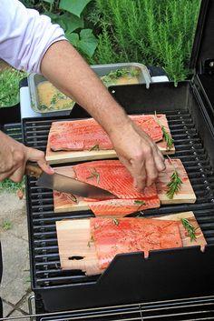 Grilled Cedar Plank Salmon ....... w/ rosemary marinade #recipe