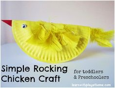 Simple Paper Plate Rocking Chicken Craft for kids.