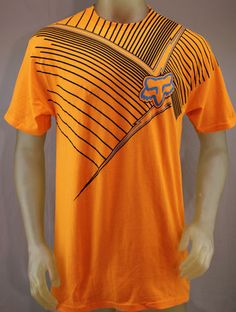 Fox Racing orange T-shirt with black & blue logo print