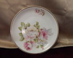 Pink rose plate hand painted