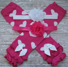 SALEValentine's Day Set Baby Leg Warmers Baby by 3LoveliesBowtique, $8.95
