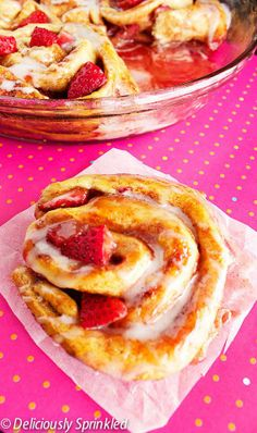 Strawberry Cinnamon Rolls by Deliciously Sprinkled