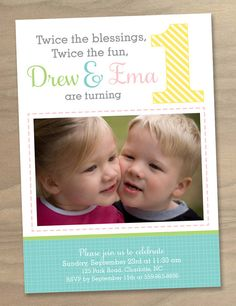 Baby Girl and Boy Twins First 1st Birthday Photo by DesignAndLife, $16.00