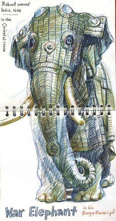 Elephant drawings   Urban Sketchers: SketchCrawl North at Leeds Royal Armouries