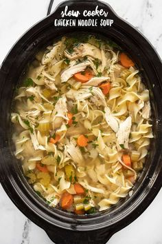 Slow cooker chicken noodle soup is an incredibly easy and soothing winter recipe that will fill you up and warm you from the inside out! BudgetBytes.com #slowcooker #chickensoup