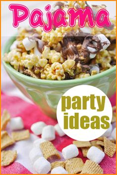 PJ Party Ideas.  Great ideas for celebrating a girls birthday party or just a fun night in with the ladies.  Use these great ideas to create a fun atmosphere and delicious party food.