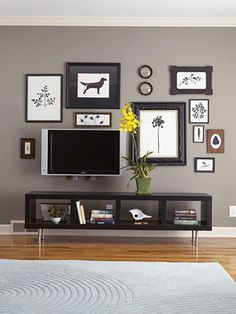 Gray walls, and picture collage includes TV!