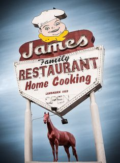 James Family Restaurant vintage neon sign, San Fernando, Caifornia --- Used to go here pretty much all the time :')