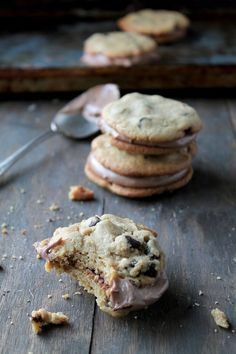 Chocolate Chip Cookie Sandwiches with Nutella Cream Cheese Filling