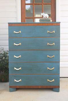 Thrift store dresser redo with Annie Sloan Chalk Paint.