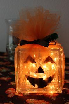 Tulle glass block pumpkin