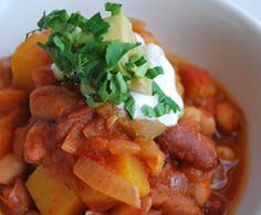 Five Bean and Butternut Squash #Chili. Sign-up for our weekly #meatlessmonday recipes here:  https://secure.humanesociety.org/site/SPageServer?pagename=meatlessmondaysignup&s_src=pin_post081314