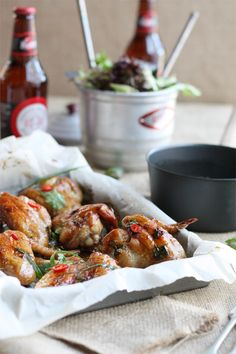 Chicken Wings with Ginger Caramel Chili Sauce