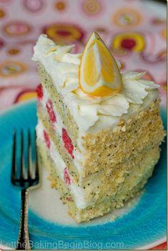 Lemon Poppy Seed Cake with Raspberries