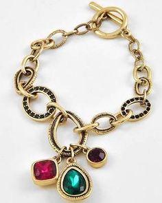 Fuchsia Emerald Purple Glass Rhinestone Toggle Closure Charm Bracelet Gold Tone $21.99