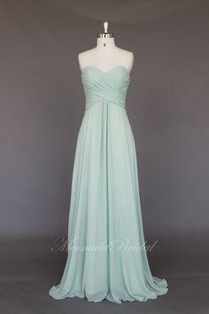Light mint Simple Chiffon Long prom dress evening by MermaidBridal