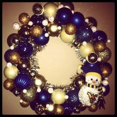Blue & Gold Snowman Wreath....