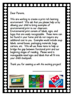 A Differentiated Kindergarten: Back To School With Guess Who? Mary from Mrs. Lirette's Learning Detectives.  Environmental print letter and ideas. environmental print, literaci, print letter, parent letters, differenti kindergarten, prints, detective, environment print, back to school