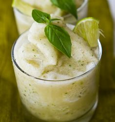 Frozen Basil Limeade Frosty - refreshing smoothie after a long, hot day.