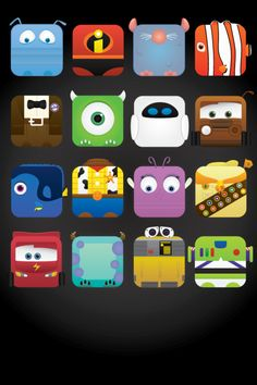 Pixar characters (Free iPhone wall paper) by Jess Fong Available here