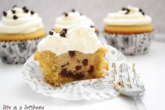 Chocolate Chip Cookie Dough Cupcakes ~ via Life As A Loft House