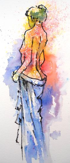 Joanne Thomas uses the line and wash method with Brusho too. You can learn how to paint this lovely lady in her new book. Find out more at BrushoSecrets.com