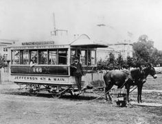 Mule-drawn streetcar, Louisville, Kentucky, circa 1880s. :: R. G. Potter Collection