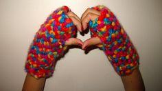 WOOL Crochet Fingerless Gloves -Child