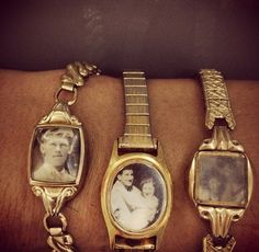 Love this idea! Old watch + Old photos