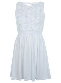 Petites White 3D Floral Dress